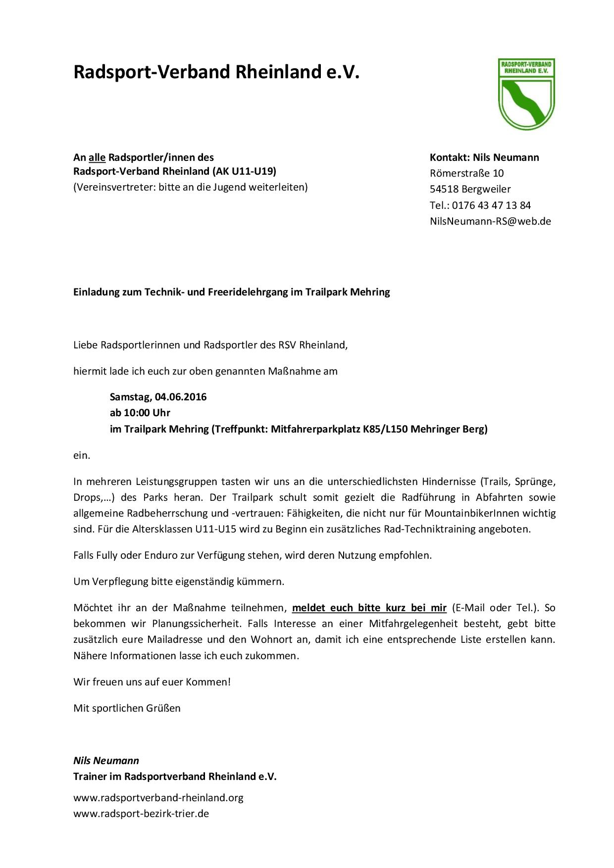 Technik- und Freeridelehrgang im Trailpark Mehring (04.06.16)